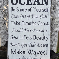 Beach Decor - Beach Sign - Advice From The Ocean Sign - 18x12 - Painted - No Vinyl - Wall Decor - Beach House - Coastal Decor - Nautical
