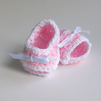 Newborn Baby Girl Pink Sandals Infant Summer Booties  White Ribbon Pale Pastel  Crochet Light  Spring Children Clothing