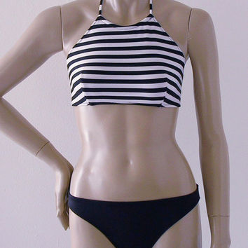 Black and White Stripe High Neck Halter Two Piece Swimsuit in S.M.L.XL