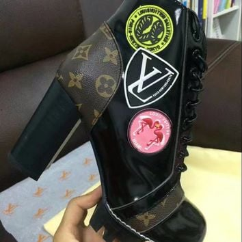 Louis Vuitton LV  Star Trail Monogram Winter Autumn Ankle Boot Zipper Lace-up Ankle high heels black coffee shoes Flats Best Quality