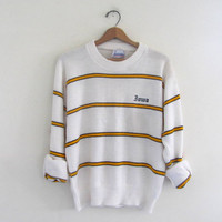 Vintage yellow striped Iowa Hawkeyes College Sweater size L