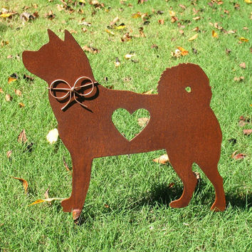 Akita Dog Metal Garden Stake - Metal Yard Art - Metal Garden Art - Pet Memorial