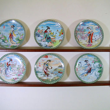 Flower Goddesses of China Collector Plates & Display Shelf Bradford Exchange Complete Set Chinese Imperial Jingdezhen Porcelain Series of 6
