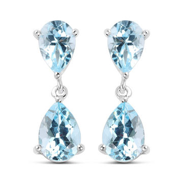 Perfect Natural 6.40CT Pear Cut Genuine Swiss Blue Topaz Platinum Drop Earrings