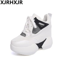 New Women Casual Shoes Fashion Lace Up Hidden High Heel Wedge Platform Shoes 2017 Leis