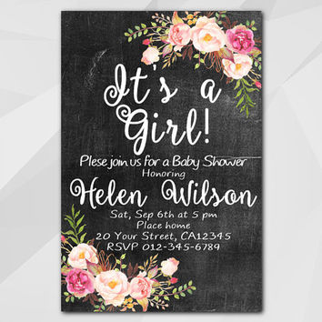 Girls Baby Shower Invitation, Chalkboard Invitation, Custom Baby Shower invitation, etsy invitation XB020c-3