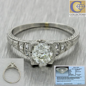 1920s Antique Art Deco Platinum .95ctw Old Mine Cut Diamond Engagement Ring EGL