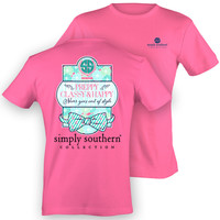 NEW Simply Southern Preppy Classy & Happy PRP Bow Anchor Bright T Shirt