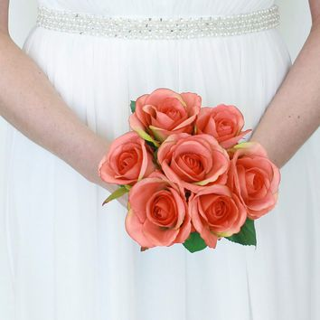 "Silk Rose Bouquet in Coral - 9"" Tall"