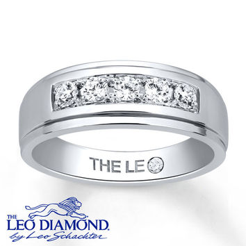 Leo Diamond Men's Band 1/2 ct tw Diamonds 14K White Gold
