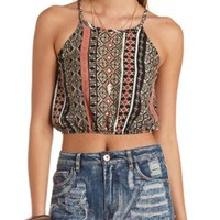 Printed Strappy Halter Crop Top by Charlotte Russe - Black Combo