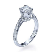 Platinum Vintage Crown Cathedral Engagement Ring Pave Set - 0.75ct Diamond
