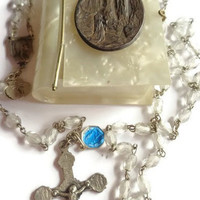Vintage French Rosary from Lourdes . Clear Glass Beaded Rosary .  Religious Cross . Catholic Jewelry .