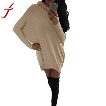 Fashion Dress Long Sleeve O-Neck Fur Collar Batwing Sleeve Mini Dress