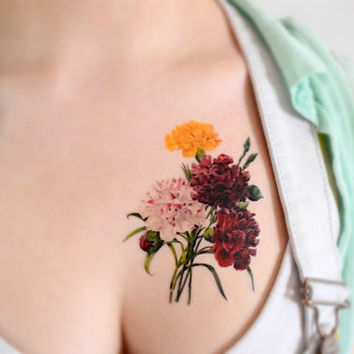 Temporary Tattoo Wildflowers - Vintage, For her, Pink, Purple, Nature, Floral