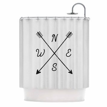 "Draper ""Cardinal Direction A"" White Illustration Shower Curtain"