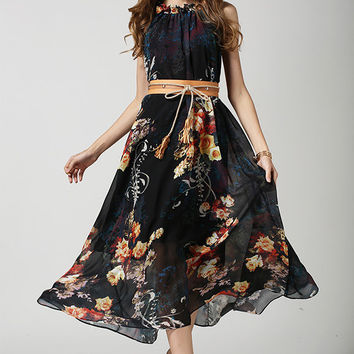 Black Floral Sleeveless Tie Waist Dress with Ruffled High Neckline