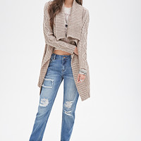 FOREVER 21 Draped Cable Knit Cardigan Taupe