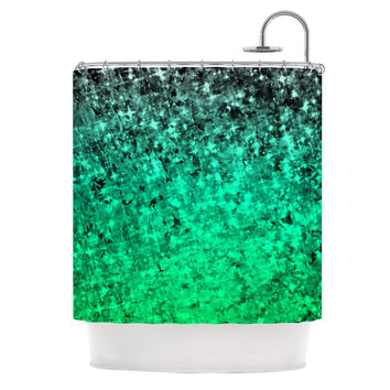 "Ebi Emporium ""Romance Me Green"" Teal Glitter Shower Curtain"