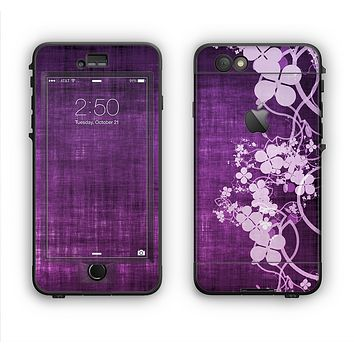 The Dark Purple with Sketched Floral Pattern Apple iPhone 6 Plus LifeProof Nuud Case Skin Set