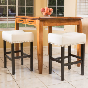 Ralph Off-White Leather Backless Counter Stool (Set of 2)