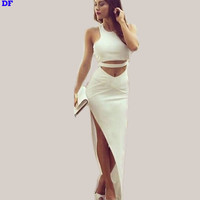 All White Sexy Club Party Dress 2015 Summer Two Pieces Bandage Dress Plus Size Slim Tank Maxi Dress White Robes Large Vestidos L