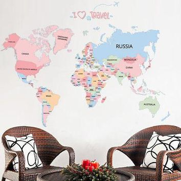 Kids Learning Colorful World Map Removable Vinyl Room Wall Sticker Decal Mural