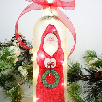 Lighted Wine Bottle Santa Claus White Frosted Hand Painted 750ml