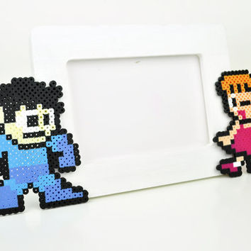Mega Man and Roll Picture Frame Perler Bead