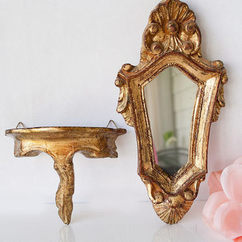 Vintage Italian Florentine petite mirror and shelf pair