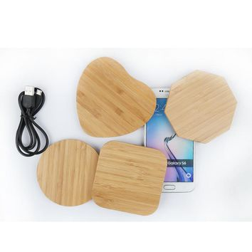 Universal Wooden Wireless Charger Qi Wireless Charge for iPhone X 8 Plus Samsung S8 S8 Plus S7 S6 edge Note 5 Phone Charging Pad