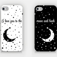 I Love You To The Moon And Back - Couple Cases - Full printed case for iPhone 4/4S/5/5S/5C/6/6 Plus - by HeartOnMyFingers - CPL-003