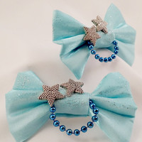 Blue Star Hair Bow