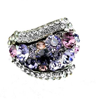 Purple Blue Crystal Rings For Women