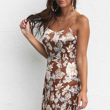 Missing More Brown Satin Floral Dress