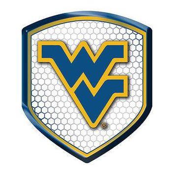 West Virginia Mountaineers SHIELD Reflector Emblem Decal Auto Home University of