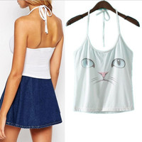 Summer Backless Spaghetti Strap Sexy Cats Camisole Print Vest [6048462529]