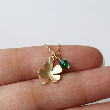 Gold tiny Clover necklace, four leaf necklace with birthstone, Lucky wish, dainty petite minimalist, Bridal Necklace, Bridesmaids Gift