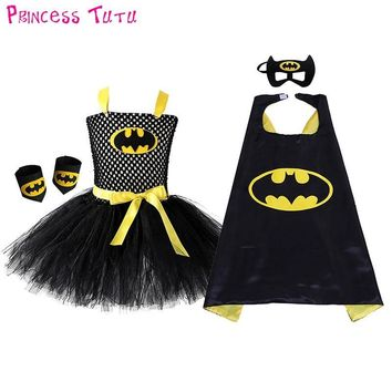 Batman Dark Knight gift Christmas Free Shipping Black Girl Batman Tutu Dress Knee Length Bat Girl Birthday Halloween Costume For Photos Baby Kids Clothes Set AT_71_6