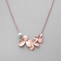 Orchid, Flower, White, Pearl, Gold, Silver, Rose gold, Necklace, Lovers, Friends, Mom, Sister, Gift