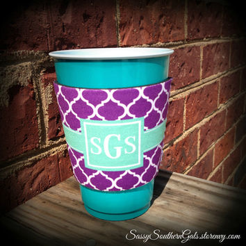 Solo Cup Koozie, Wine Glass Koozie, Monogrammed / Personalized Koozie from Sassy Southern Gals Boutique
