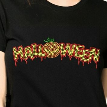 Halloween Rhinestones Cotton Bling T-Shirt