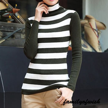 Turtleneck Stripped Long Sleeve Knitting Sweater Pullovers for Women (Size: S) = 1842198340