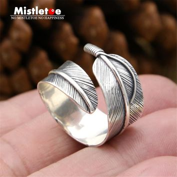 Genuine 100% 925 Sterling Silver Vintage Retro Punk Indian Eagle Feather Ring For Women Men Fashion Jewelry