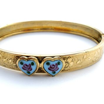 Blue Enamel Heart Gold Bangle Bracelet Vintage