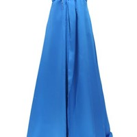 Dressystar Long Beaded Satin Prom Evening Ball Dress Emipre waist Side Split