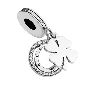 100% 925 Sterling-Silver-Jewelry Lucky Day Silver Dangle Charm DIY Fits Bracelet Charms Silver Beads for Jewelry Making FL519