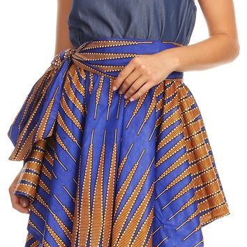 Sakkas Lani Womens Cocktail Sleeveless Hi-Lo Dress in African Print w/Pockets