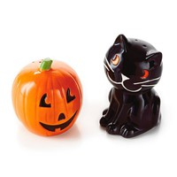 Jack-o'-Lantern and Cat Salt and Pepper Shaker Set