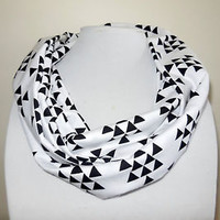 White Infinity Scarf Circle Geometric Tribal Navajo Aztec Black Triangles Knit